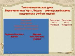 Технологическая карта урока Вариативная часть карты. Модуль 1, фиксирующий у