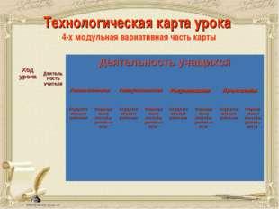 Технологическая карта урока 4-х модульная вариативная часть карты Ход урока