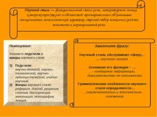 Повторение: Назовите подстили и жанры научного стиля Подстили: научно-делово
