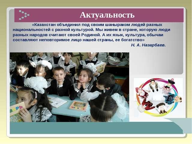 Актуальность «Казахстан объединил под своим шаныраком людей разных национал...