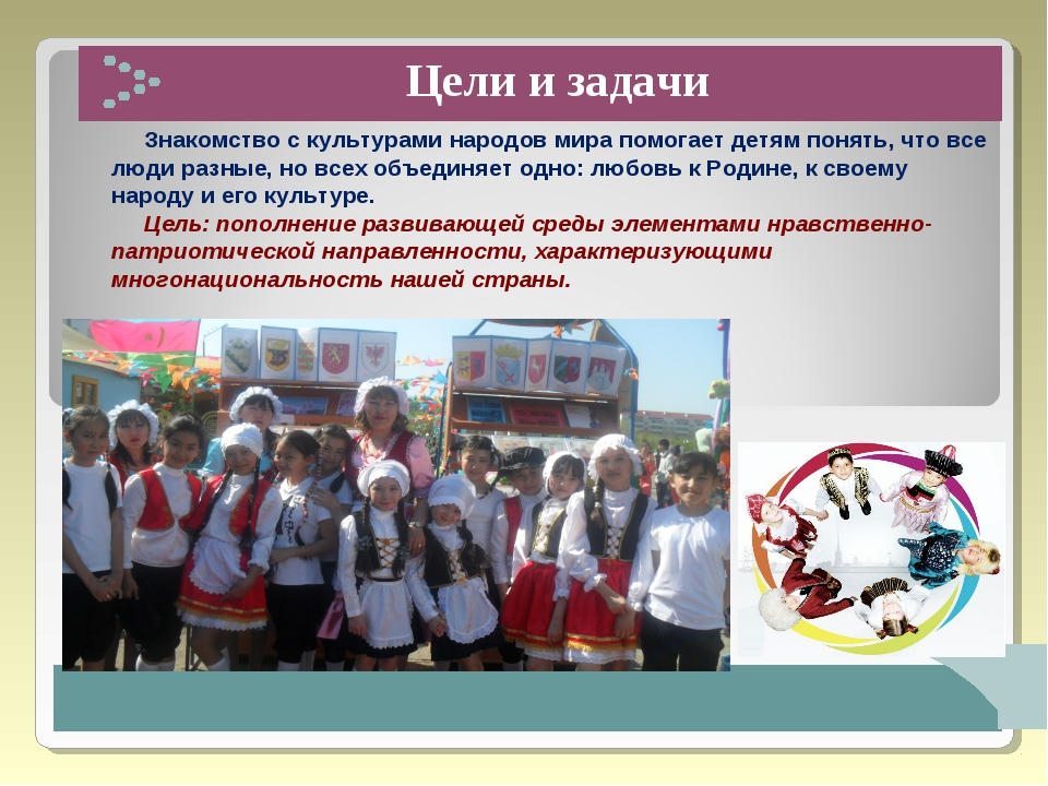 Цели и задачи Знакомство с культурами народов мира помогает детям понять, чт...