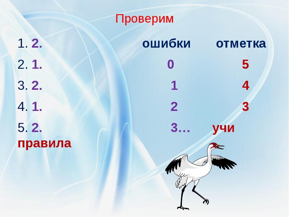 Проверим 1. 2. ошибки отметка 2. 1. 0 5 3. 2. 1 4 4. 1. 2 3 5. 2. 3… учи прав...