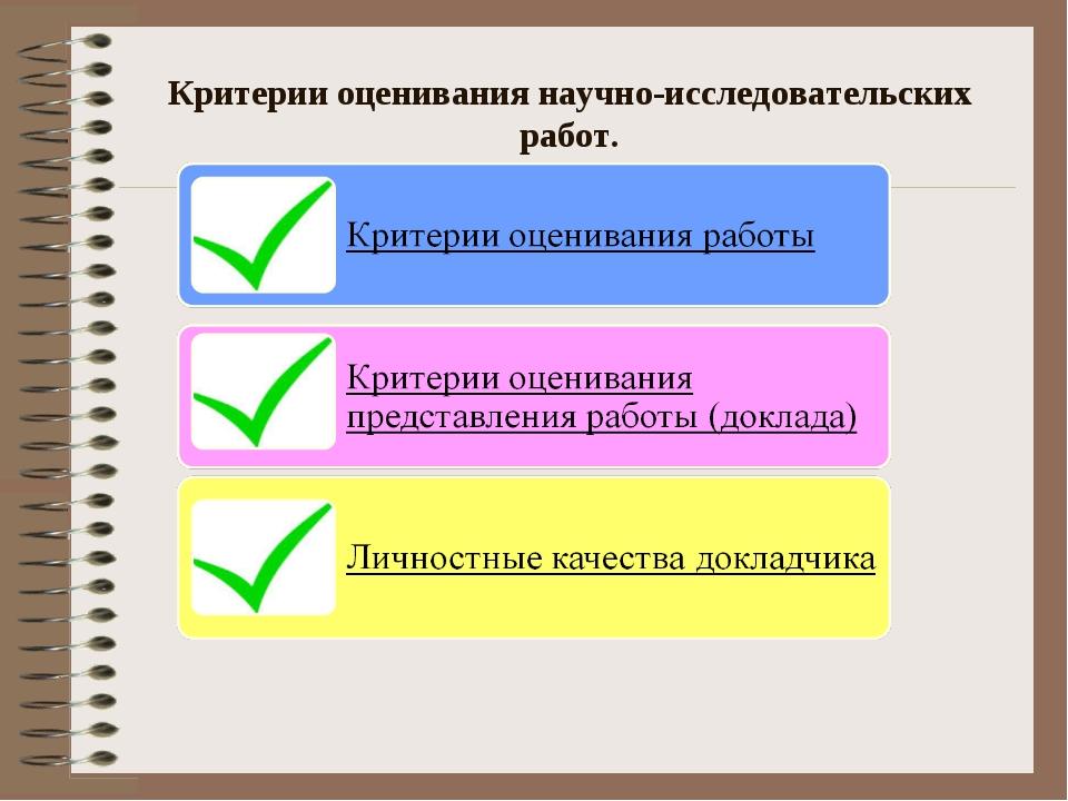 Критерии оценивания научно-исследовательских работ.