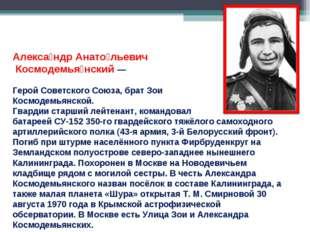 Алекса́ндр Анато́льевич Космодемья́нский — Герой Советского Союза, брат Зои К