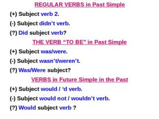 REGULAR VERBS in Past Simple (+) Subject verb 2. (-) Subject didn't verb. (?)