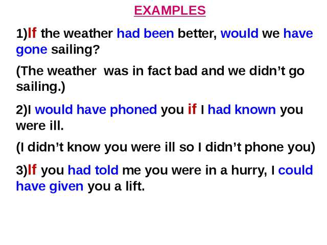 EXAMPLES 1)If the weather had been better, would we have gone sailing? (The w...