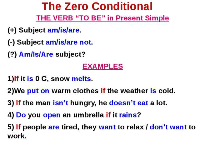 "The Zero Conditional THE VERB ""TO BE"" in Present Simple (+) Subject am/is/are..."