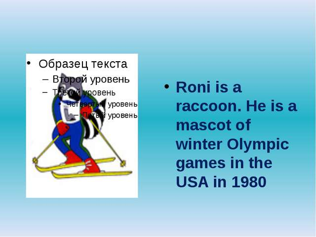 Roni is a raccoon. He is a mascot of winter Olympic games in the USA in 1980