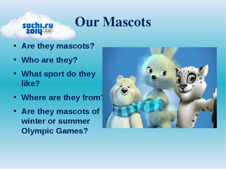 Our Mascots Are they mascots? Who are they? What sport do they like? Where ar...