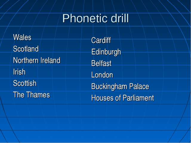 Phonetic drill Wales Scotland Northern Ireland Irish Scottish The Thames Card...