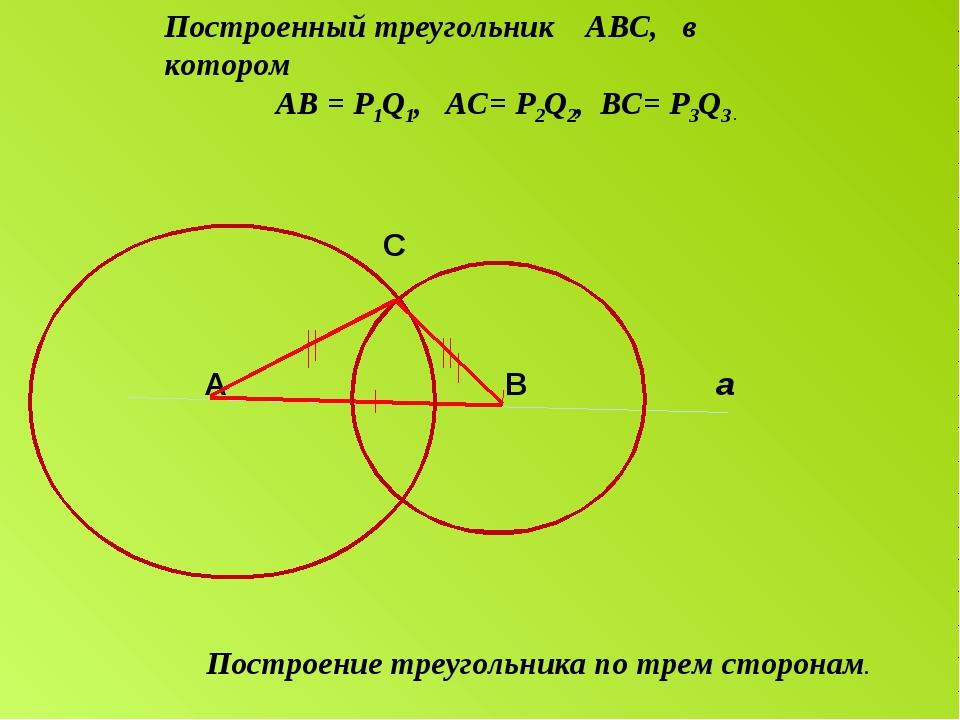 C A B а Построение треугольника по трем сторонам. Построенный треугольник АВ...