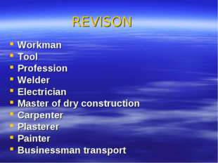 REVISON Workman Tool Profession Welder Electrician Master of dry construction