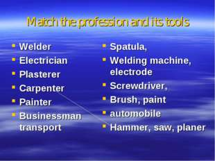 Matсh the profession and its tools Welder Electrician Plasterer Carpenter Pai