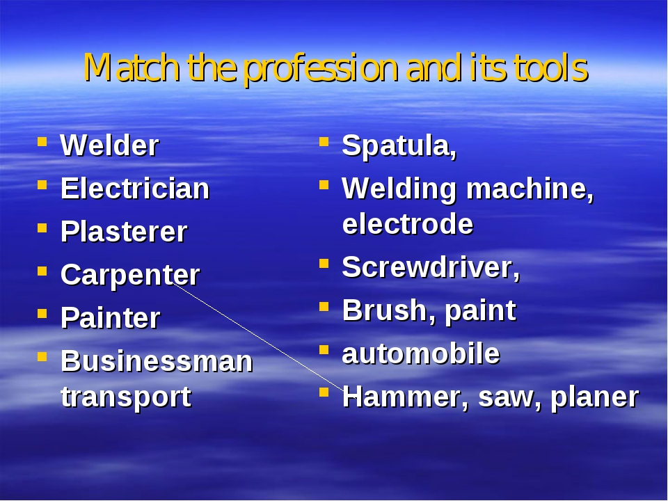 Matсh the profession and its tools Welder Electrician Plasterer Carpenter Pai...