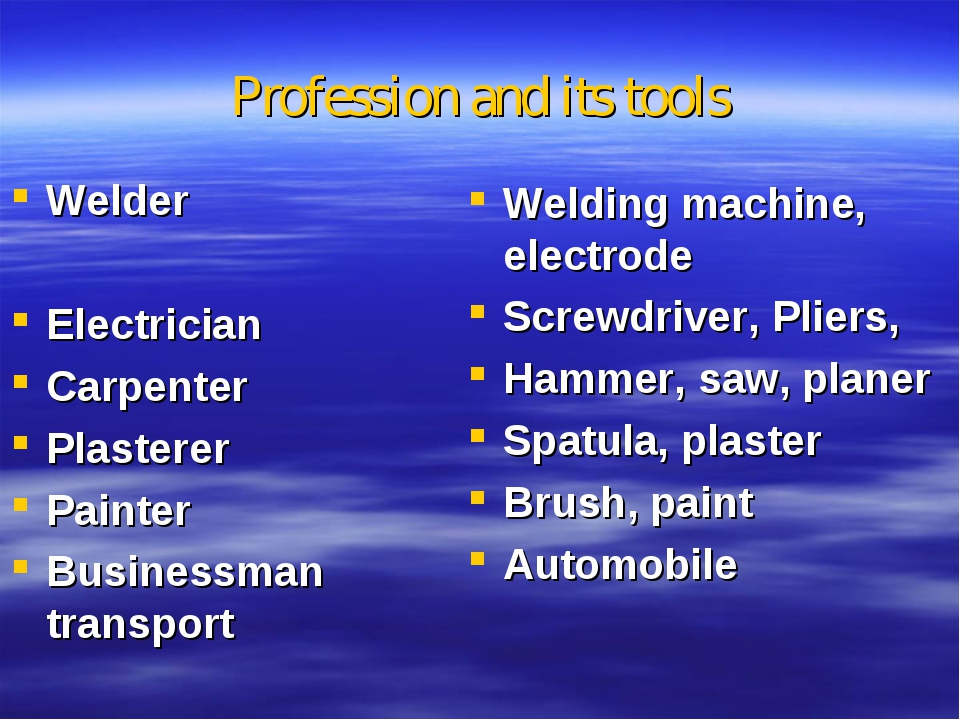 Profession and its tools Welder Electrician Carpenter Plasterer Painter Busin...