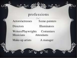 professions Actors/actresses Scene-painters Directors Illuminators Writers/Pl