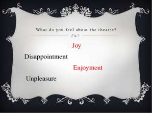 What do you feel about the theatre? 			 Joy Disappointment 		 Enjoyment Unple