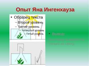 Опыт Яна Ингенхауза Вывод: Кислород выделяется только на свету.