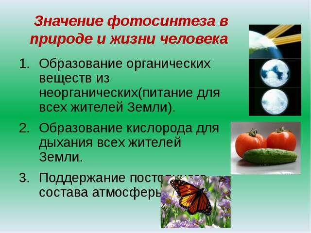 Значение фотосинтеза в природе и жизни человека Образование органических веще...