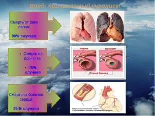 Вред, причиняемый курением Смерть от рака легких 90% случаев Смерть от болезн