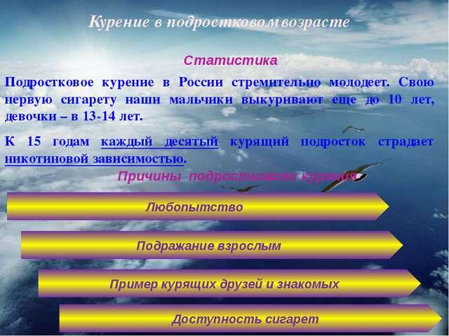 Курение в подростковом возрасте Подростковое курение в России стремительно мо...