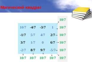 Магический квадрат 10/7 10/7 -4/7 -3/7 1 10/7 -1/7 5/7 4/7 2/7 10/7 3/7 1/7 0