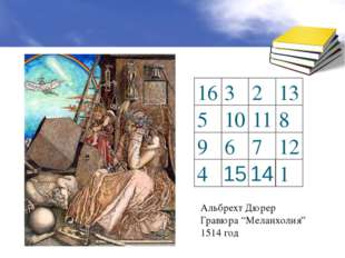 """Альбрехт Дюрер Гравюра """"Меланхолия"""" 1514 год 16 3 2 13 5 10 11 8 9 6 7 12 4 1"""