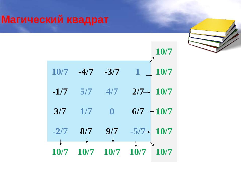 Магический квадрат 10/7 10/7 -4/7 -3/7 1 10/7 -1/7 5/7 4/7 2/7 10/7 3/7 1/7 0...