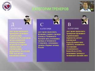 КАТЕГОРИИ ТРЕНЕРОВ дает право выполнять тренерские функции в соревнованиях П