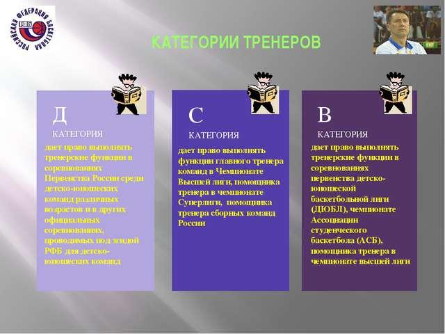 КАТЕГОРИИ ТРЕНЕРОВ дает право выполнять тренерские функции в соревнованиях П...