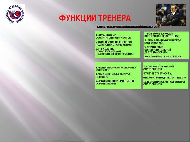 ФУНКЦИИ ТРЕНЕРА