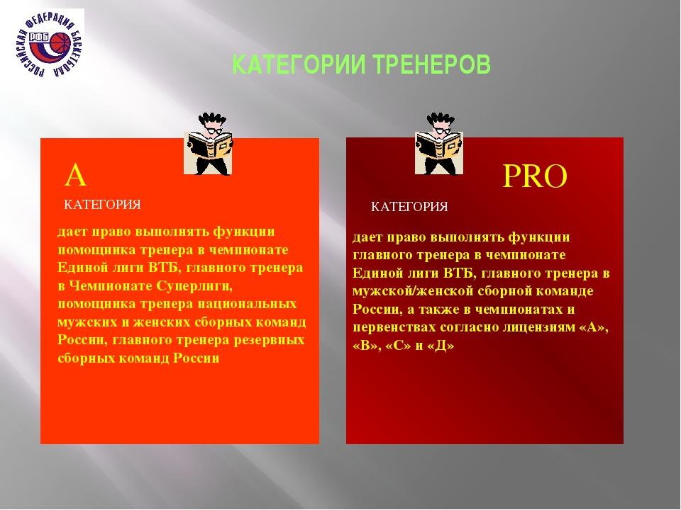 КАТЕГОРИИ ТРЕНЕРОВ дает право выполнять функции помощника тренера в чемпиона...