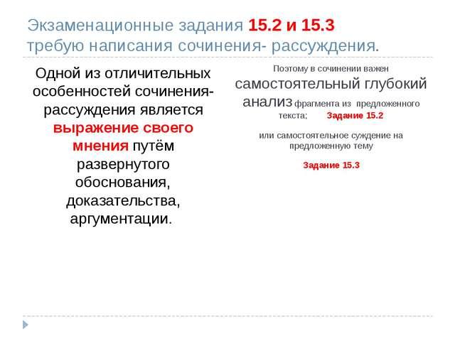 Экзаменационные задания 15.2 и 15.3 требую написания сочинения- рассуждения....