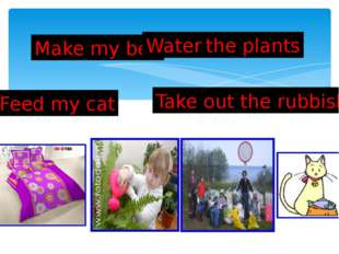 Make my bed Feed my cat Water the plants Take out the rubbish