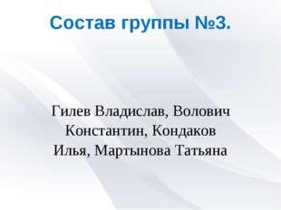 Состав группы №3. Гилев Владислав, Волович Константин, Кондаков Илья, Мартыно
