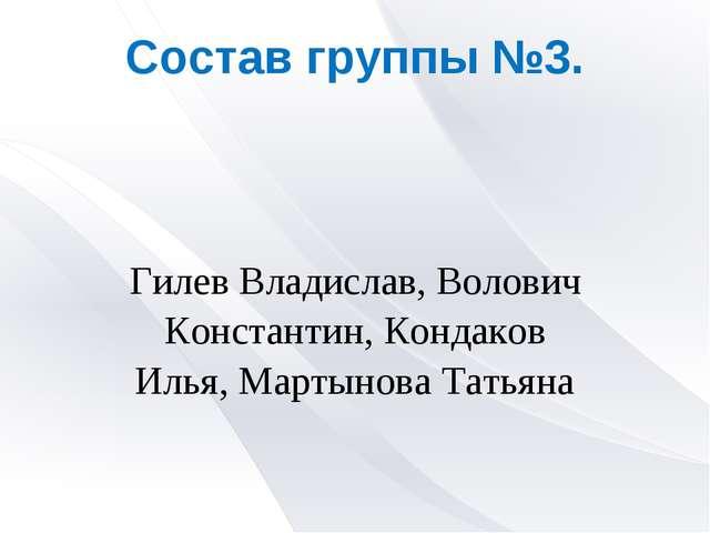 Состав группы №3. Гилев Владислав, Волович Константин, Кондаков Илья, Мартыно...