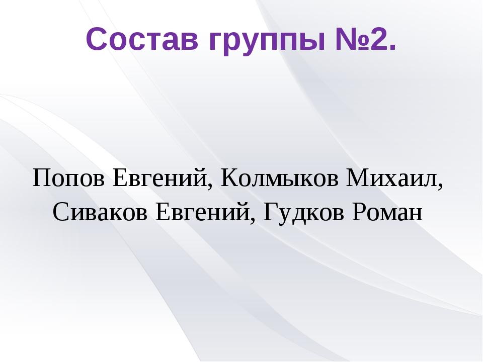 Состав группы №2. Попов Евгений, Колмыков Михаил, Сиваков Евгений, Гудков Роман