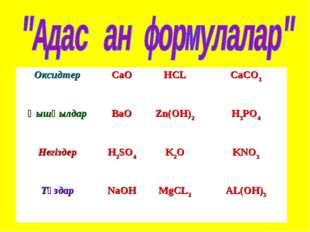 ОксидтерCaOHCLCaCO3 ҚышқылдарBaOZn(OH)2H3PO4 НегіздерH2SO4K2OKNO3 Тұ