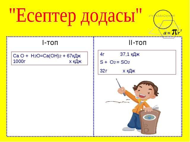 І-топ ІІ-топ Са О + Н2О=Са(ОН)2 + 67кДж 1000г х кДж 4г 37,1 кДж S + O2 = SO2...