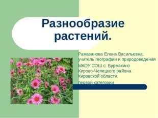 Рамазанова Елена Васильевна, учитель географии и природоведения МКОУ СОШ с. Б