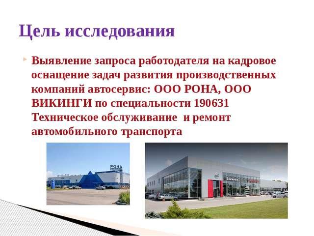 Выявление запроса работодателя на кадровое оснащение задач развития производс...
