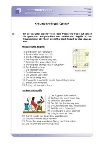 Arbeitsblatt: Kreuzworträtsel: Ostern Schulformen: Grundschule, Hauptschule, Realschule, Gymnasium Fächer: Religion/Ethik, Deutsch, Sachunterricht