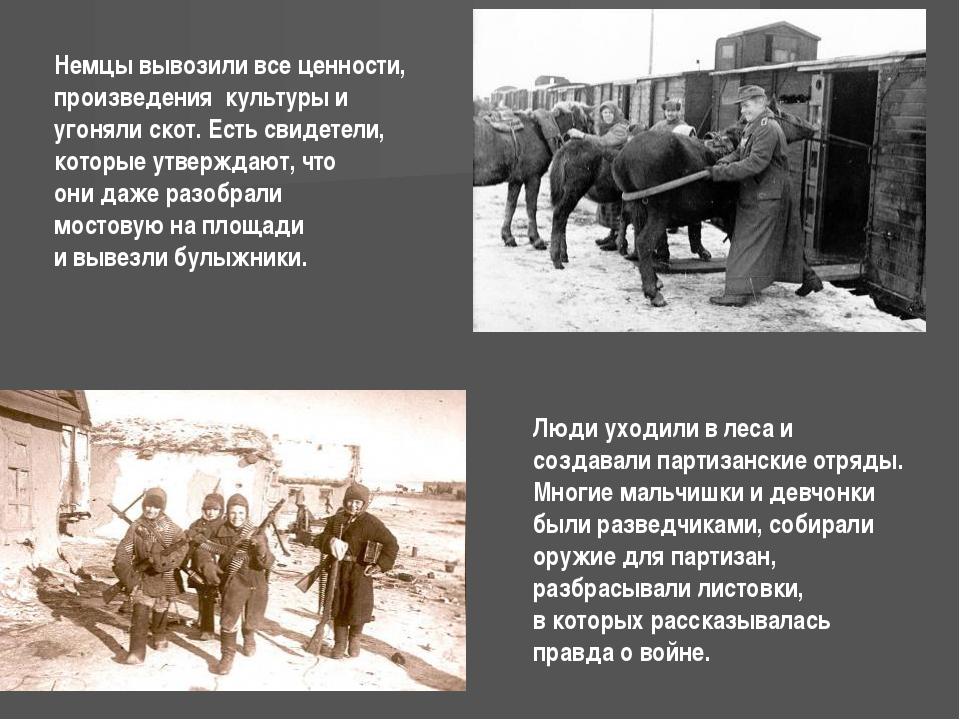 Немцы вывозили все ценности, произведения культуры и угоняли скот. Есть свиде...