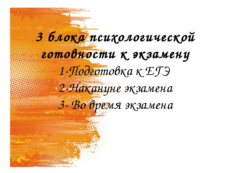 3 блока психологической готовности к экзамену 1-Подготовка к ЕГЭ 2-Накануне э...