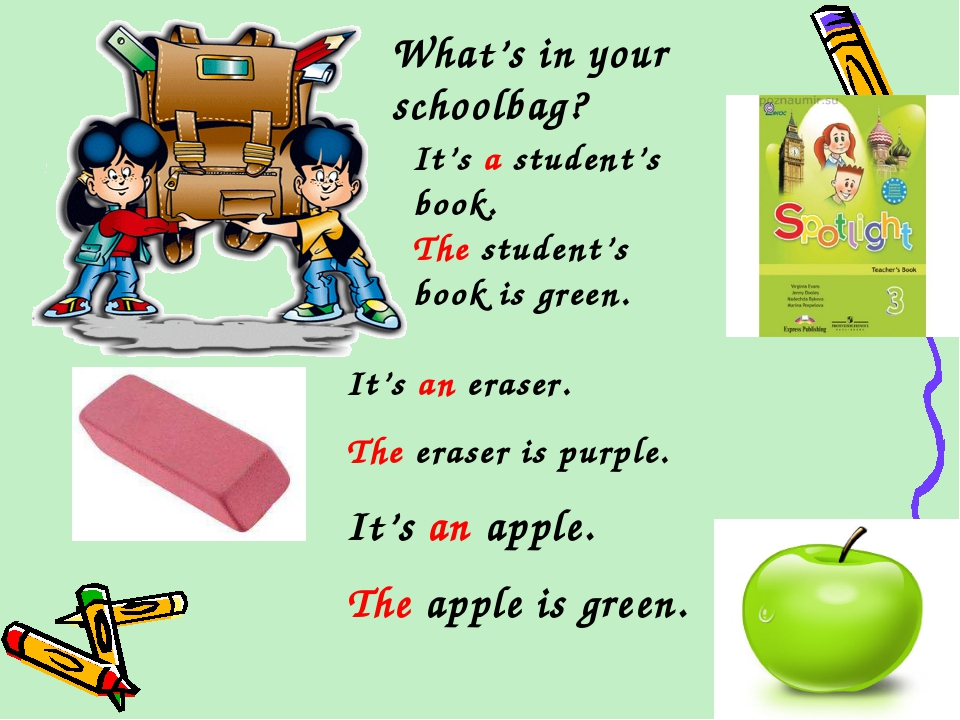 What's in your schoolbag? It's an eraser. The eraser is purple. It's an apple...