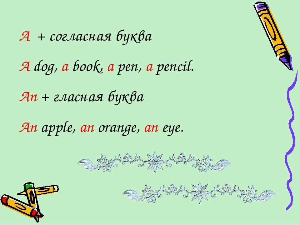 A + согласная буква A dog, a book, a pen, a pencil. An + гласная буква An app...