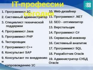 IT-профессии сегодня 1. Программист 1С 2. Системный администратор 3. Специали