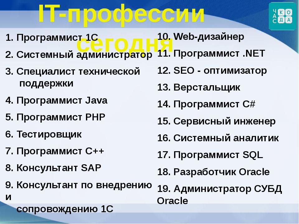 IT-профессии сегодня 1. Программист 1С 2. Системный администратор 3. Специали...