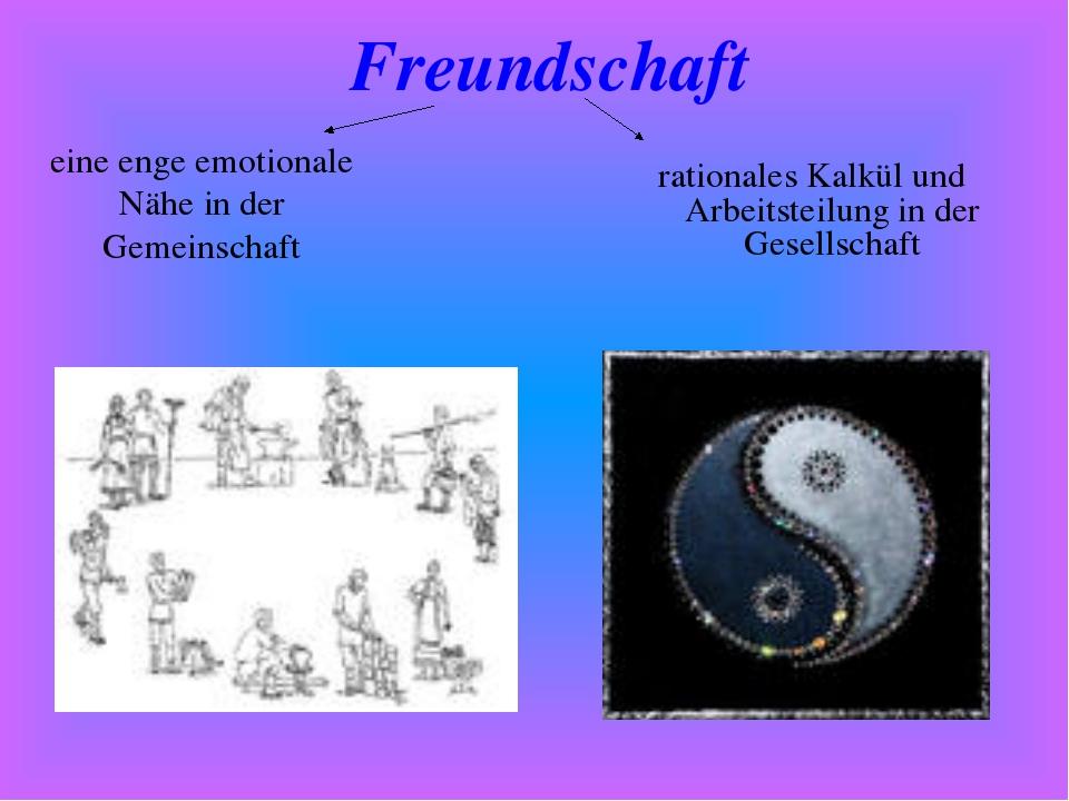 rationales Kalkül und Arbeitsteilung in der Gesellschaft Freundschaft eine en...