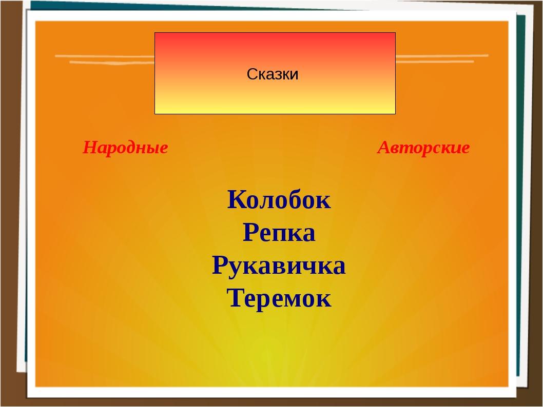 Сказки Народные Авторские Колобок Репка Рукавичка Теремок
